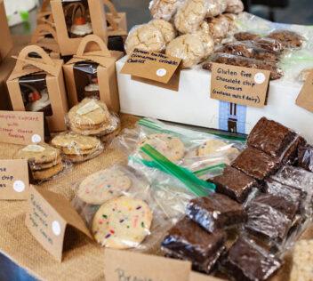 Bake sale brownies, cupcakes, and cookies