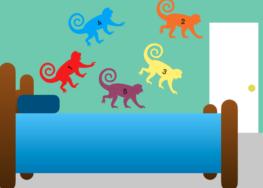 Preschool learning resource: 5 monkeys on a bed