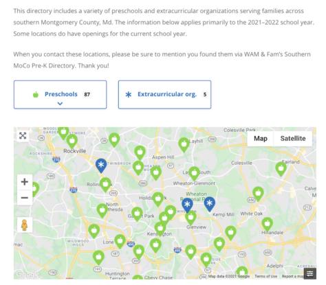 Southern Montgomery County Preschool Directory webpage